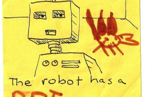The robot has a PET.